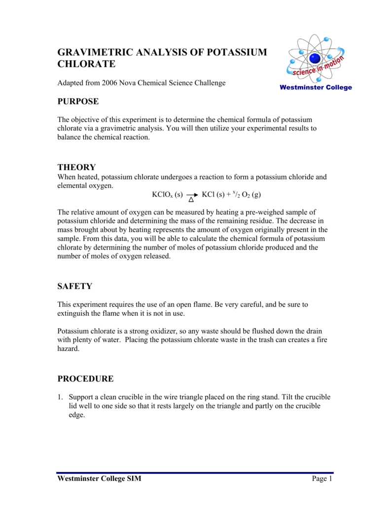 chemical formula of potassium chlorate