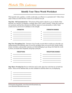 Identify Your Three Words Worksheet