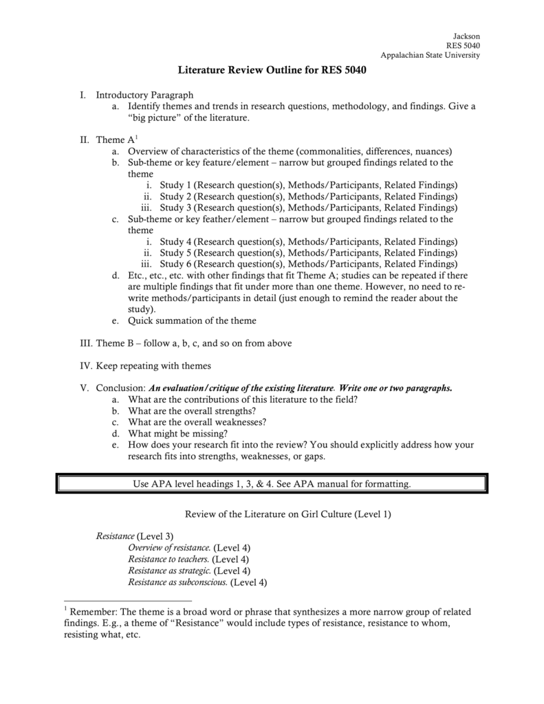 Literature Review Outline For Res 5040