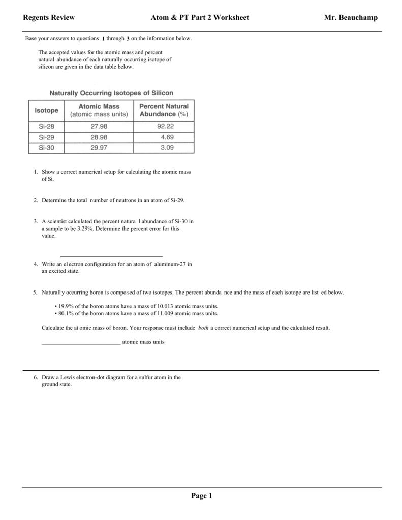 Regents part 2 questions for the atom and periodic table with pooptronica