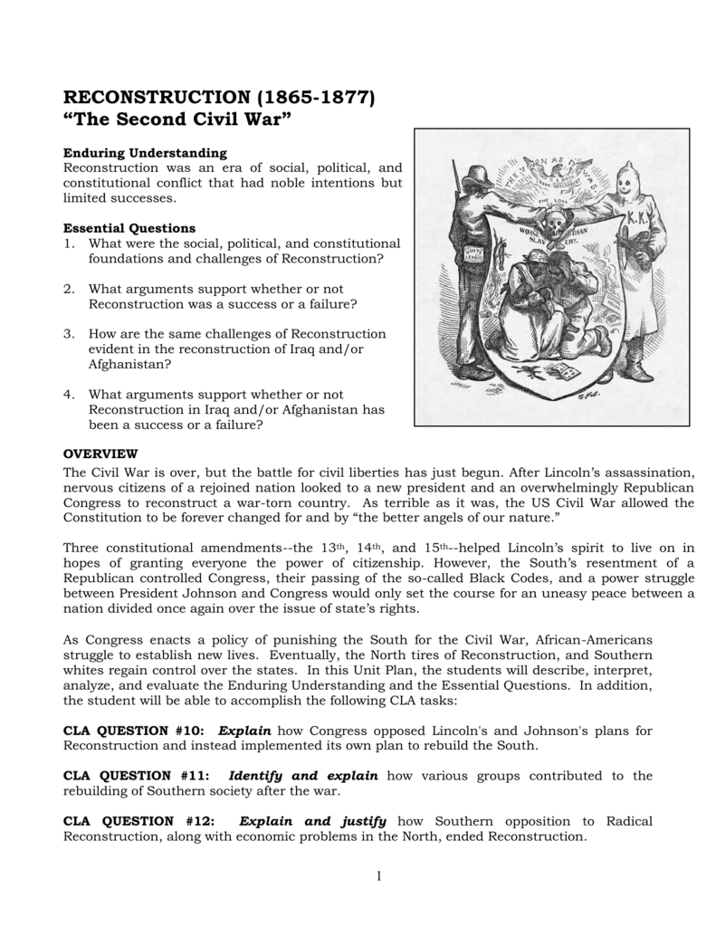 RECONSTRUCTION (1865-1877) The Second Civil War