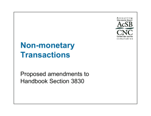 Non-monetary Transactions Non-monetary Transactions