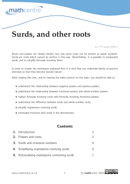 Surds, and other roots