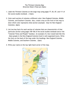 Directions for the Thirteen Colonies Map
