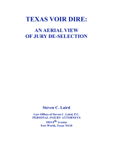 Texas Voir Dire - Law Office of Steven C Laird PC