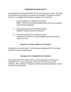 Homework Policy and Guidelines