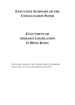 executive summary of the consultation paper: enactment of apology