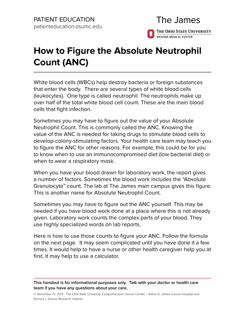 how to figure the absolute neutrophil count