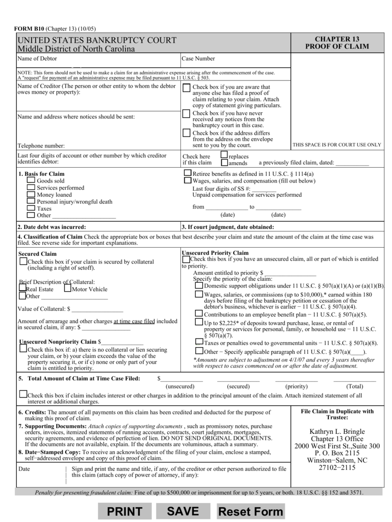 FORM B10 (Official Form 10)(10/05)