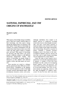 NATIVISM, EMPIRICISM, AND THE ORIGINS OF KNOWlEDGE
