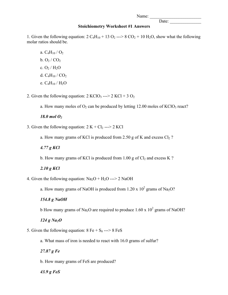 worksheet Stoichiometry Worksheet 1 Answers stoichiometry worksheet 1 answers