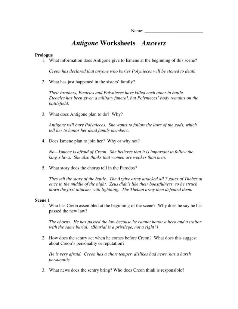 Antigone Worksheets Answers