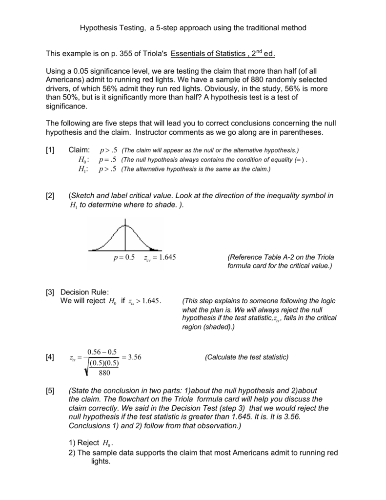 Hypothesis testing a 5 step approach using the traditional method biocorpaavc