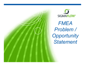 FMEA Problem / / Opportunity Statement
