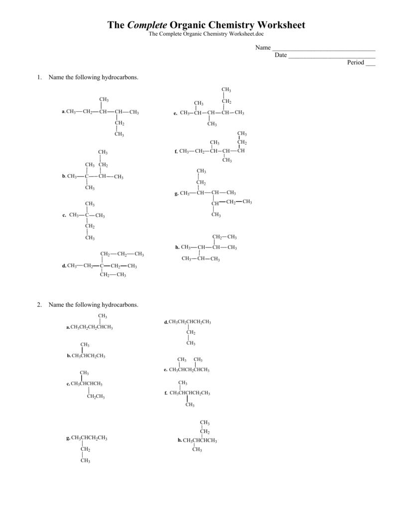 The Complete Organic Chemistry Worksheet – Hydrocarbons Worksheet