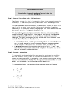 Steps In Significance/ hypothesis Testing Using