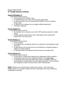 9th Grade Honors Criteria