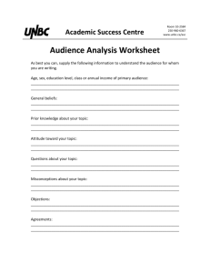 Audience Analysis Worksheet