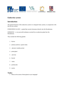 Endocrine system Introduction: Tasks: