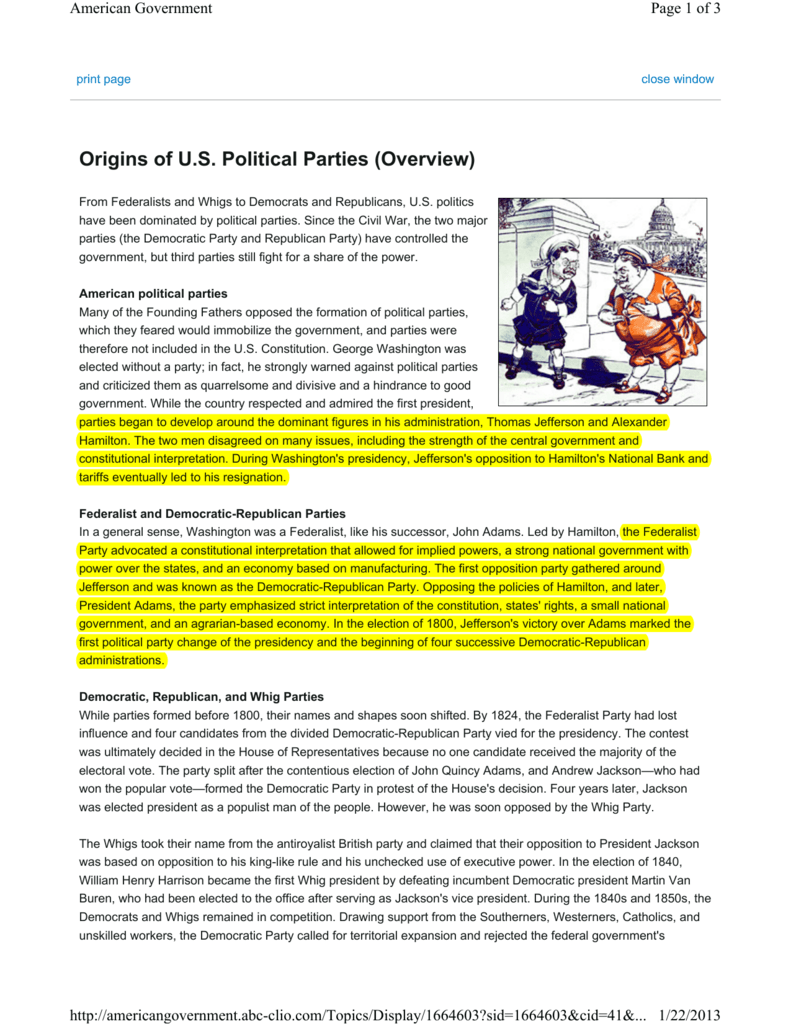 Origins of U.S. Political Parties (Overview)
