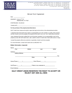 "Bid and ""As Is"" Agreement"