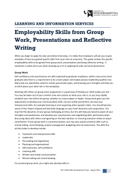 Employability Skills from Group Work, Presentations and Reflective