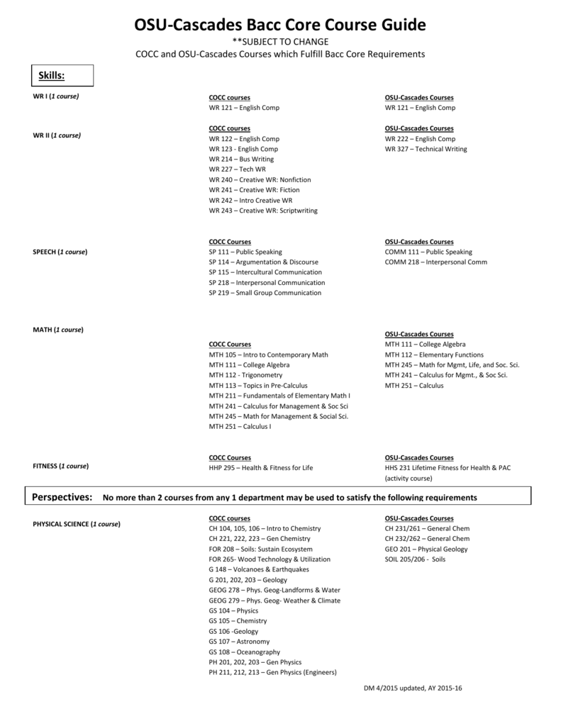 OSU-Cascades Bacc Core Course Guide