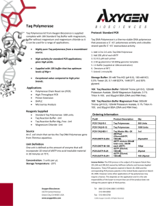Taq Polymerase Recombinant Taq polymerase from Axygen