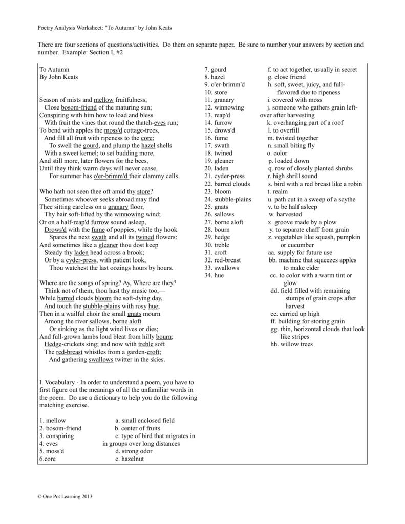 worksheet Poem Analysis Worksheet poetry analysis worksheet to autumn by john