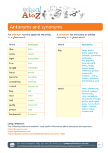 Antonyms and synonyms - Department of Education NSW