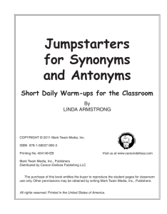 Jumpstarters for Synonyms and Antonyms