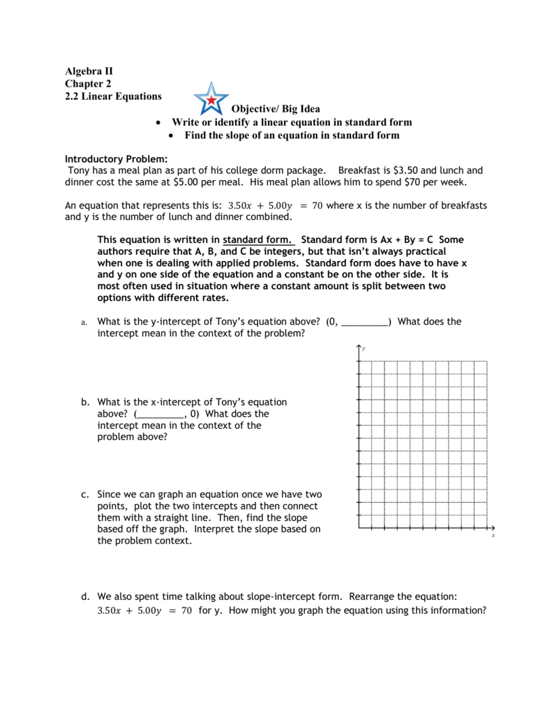 Big Idea Write Or Identify A Linear Equation In Standard Form Find