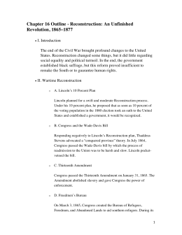 Chapter 16 Outline - Reconstruction