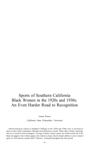 Sports of Southern California Black Women in the 1920s and 1930s