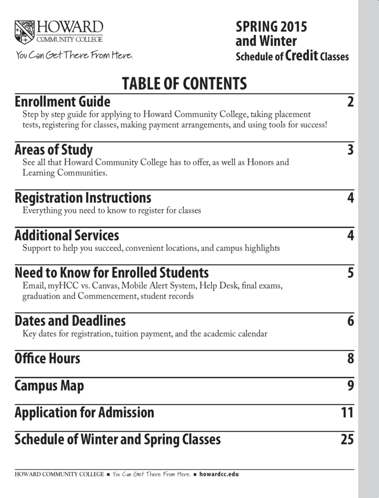 Table Of Contents Laurel College Center
