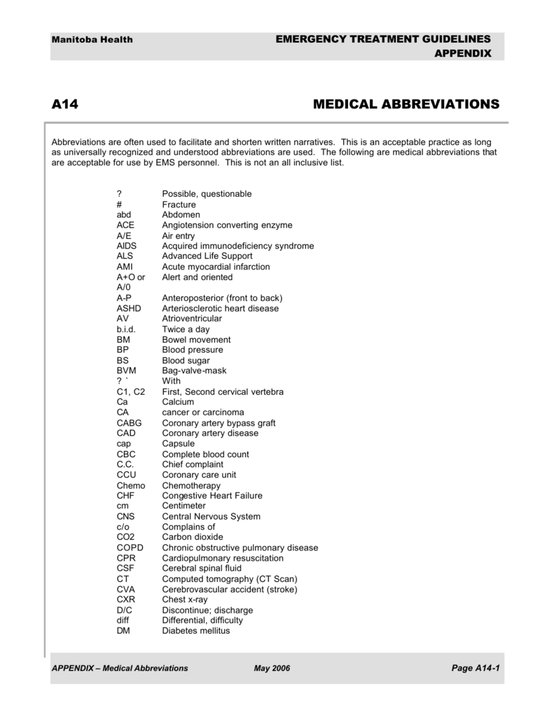 A14 abbreviations biocorpaavc Image collections