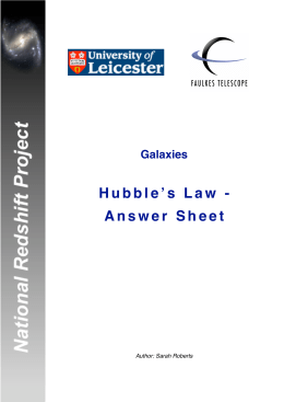Hubble's Law - Answer Sheet