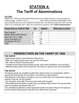 STATION 4: The Tariff of Abominations