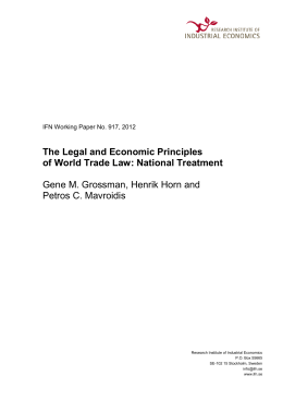 The Legal and Economic Principles of World Trade Law: National
