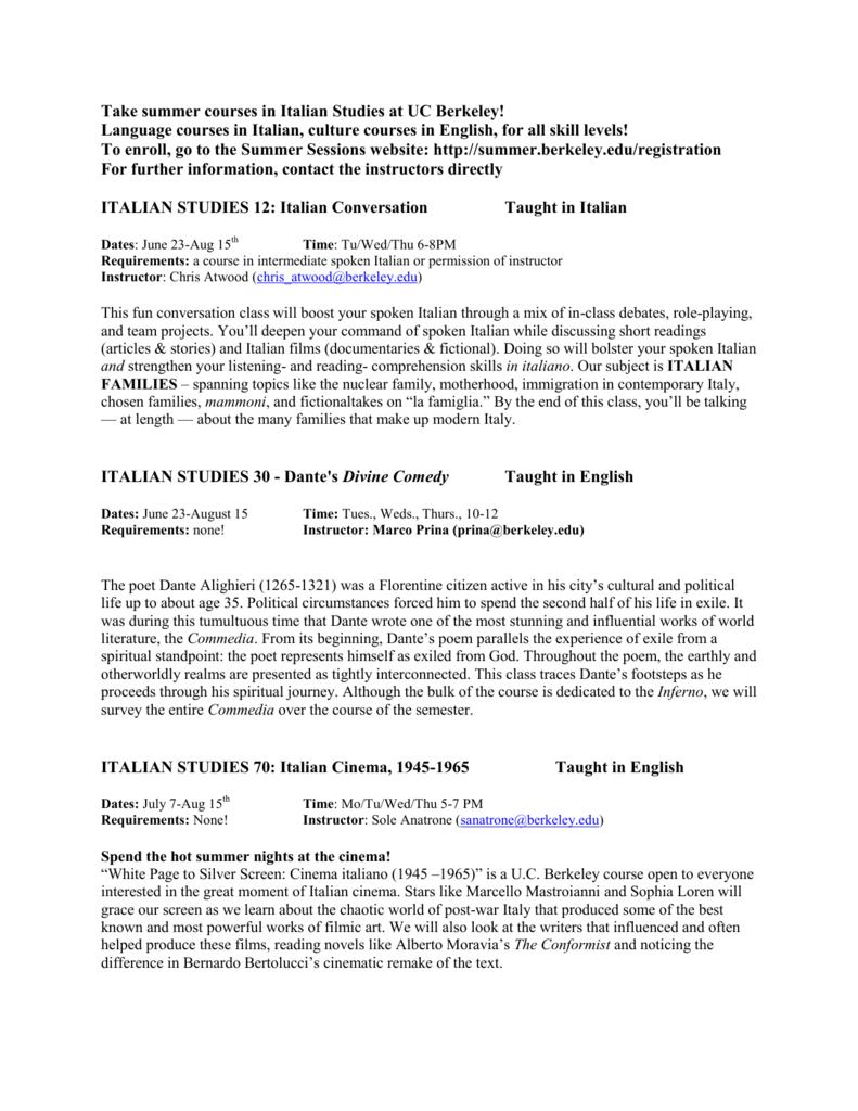 Take summer courses in Italian Studies at UC Berkeley! Language
