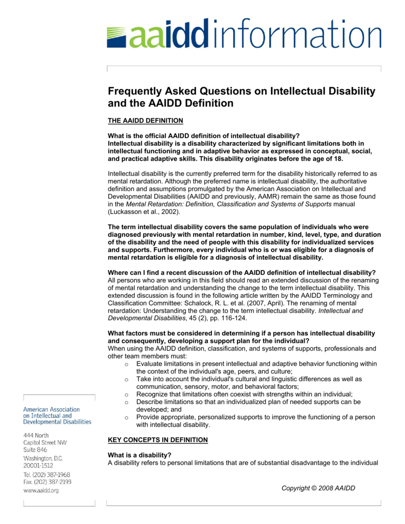 frequently asked questions on intellectual disability and the aaidd