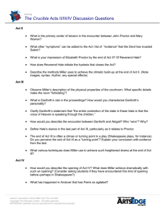 The Crucible Acts II/III/IV Discussion Questions