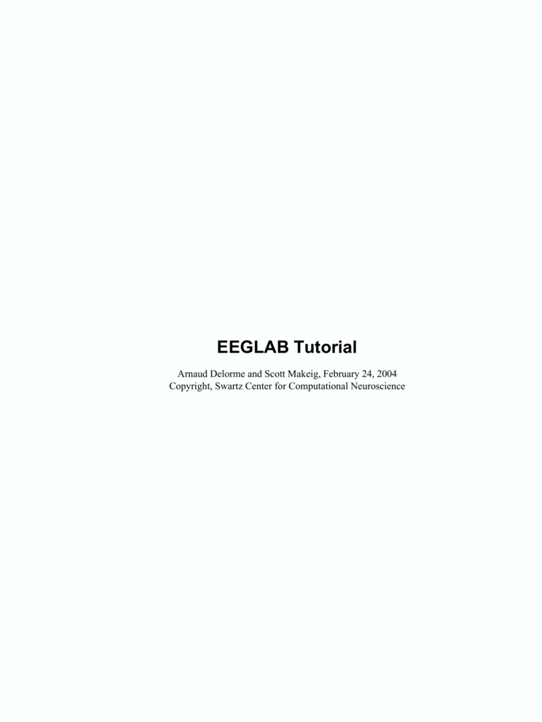 EEGLAB Tutorial - Percepts and Concepts Laboratory