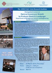 Optimal Investment Growth by Professor David G. Luenberger