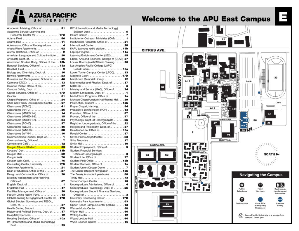 azusa pacific university map Azusa Pacific University Campus Map azusa pacific university map
