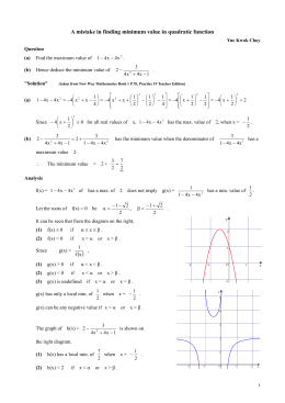 A mistake in finding minimum value in quadratic function
