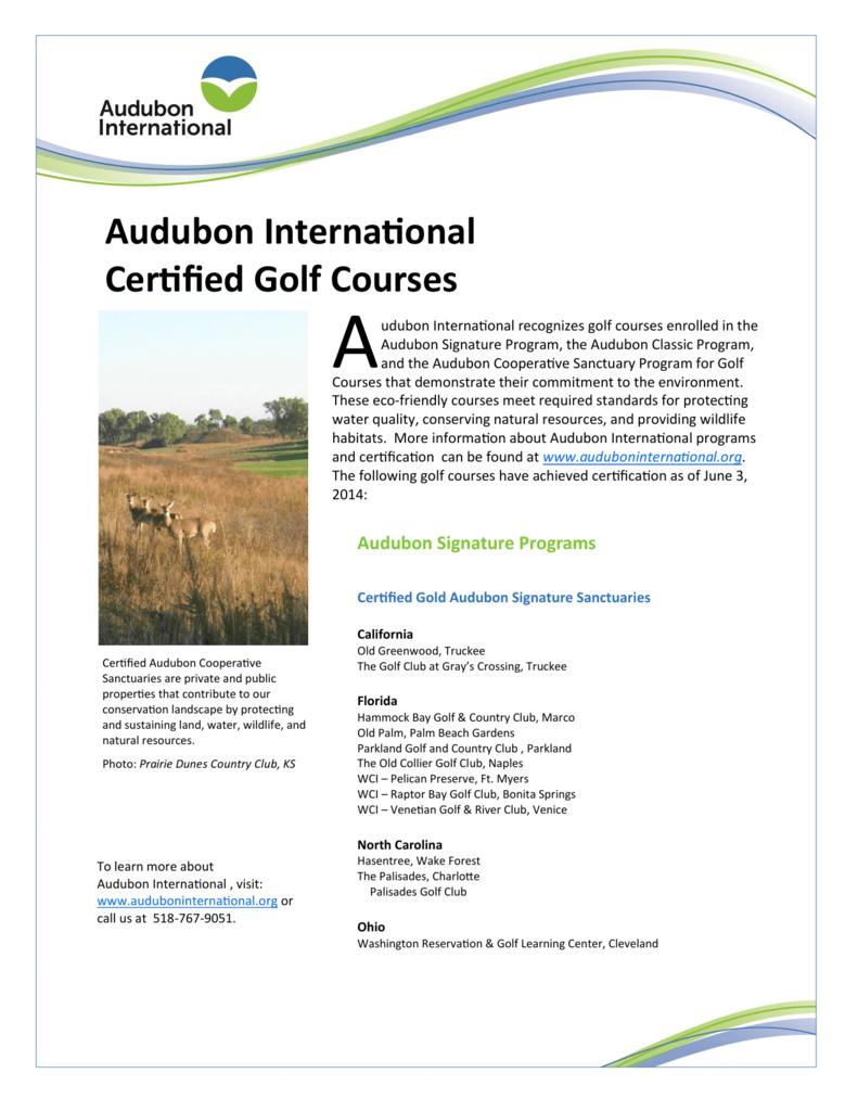 Audubon International Certified Golf Courses