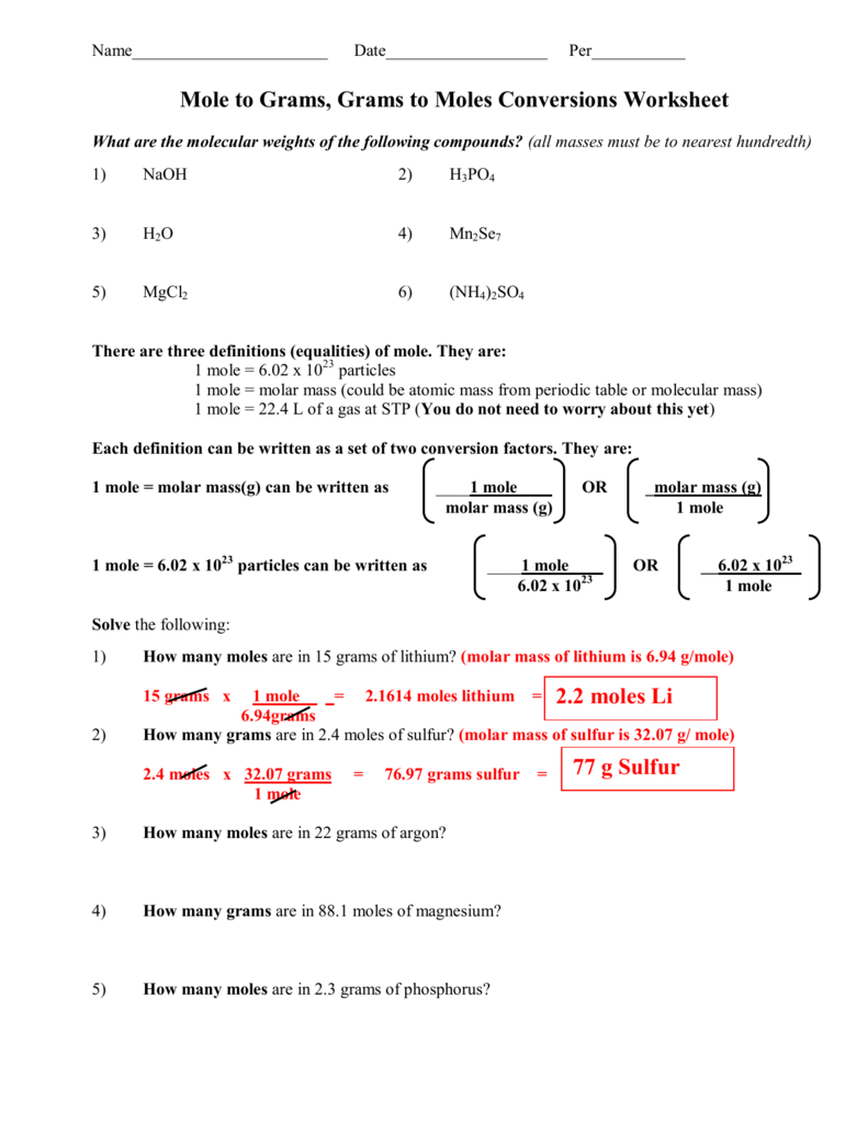 1 Mole Calculation Worksheet