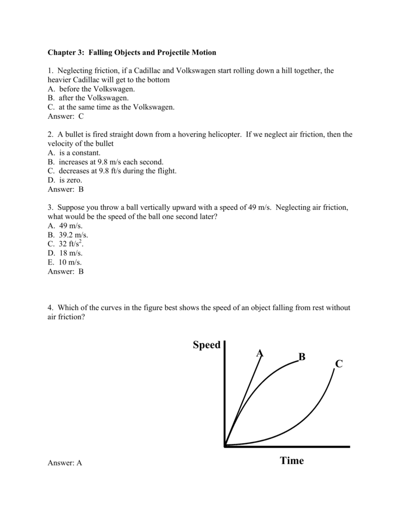 worksheet Projectile Motion Worksheet With Answers chapter 3 falling objects and projectile motion