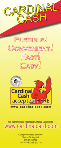 cardinal cash - SUNY Plattsburgh College Auxiliary Services